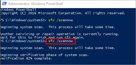 "type ""sfc/scannow"" - Critical Process Died Windows 10 Error"