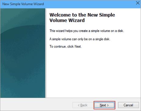 simple volume setup wizard