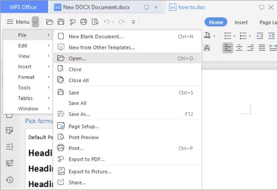 Open Option - WPS Office - Edit A PDF File Online