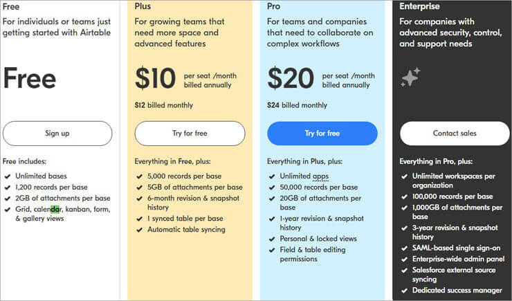 Airtable Pricing