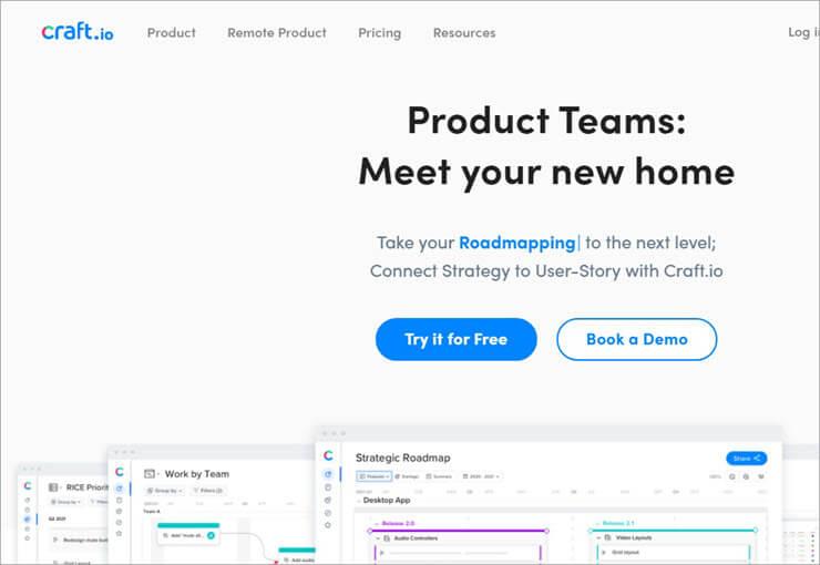 Craft_io Website - Product Roadmap Software