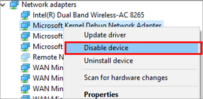 Disable device - ethernet doesn't have a valid ip configuration