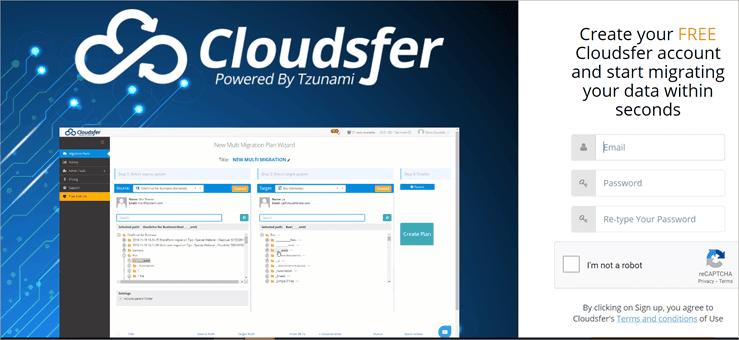 cloudsfer create account