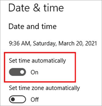 Set time automatically