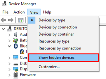 Show hidden devices