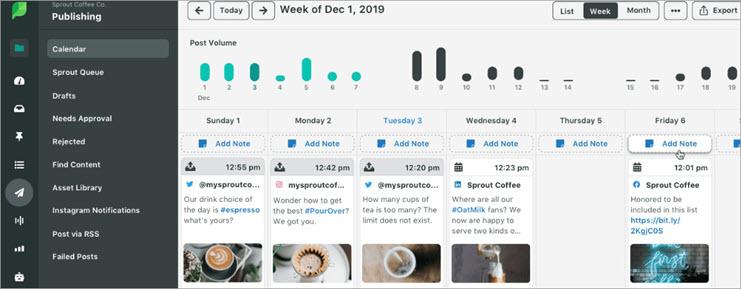 SproutSocial Dashboard - Content Calendar Tools