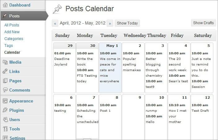 WordPress Editorial Calendar Dashboard - Content Calendar Tools