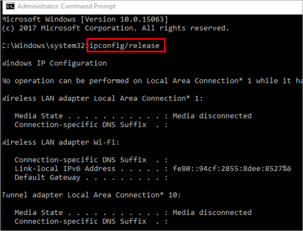 ipconfig-release - ethernet doesn't have a valid ip configuration