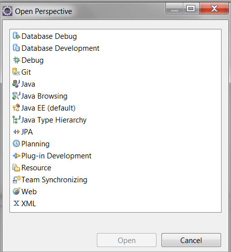Perspective feature in Eclipse