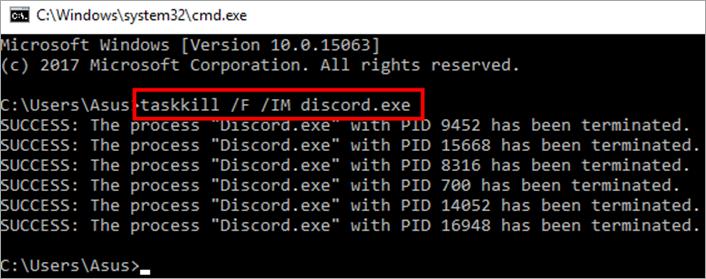 """type """"taskkill /F /IM Discord.exe"""""""