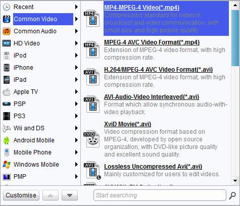 Select MP4